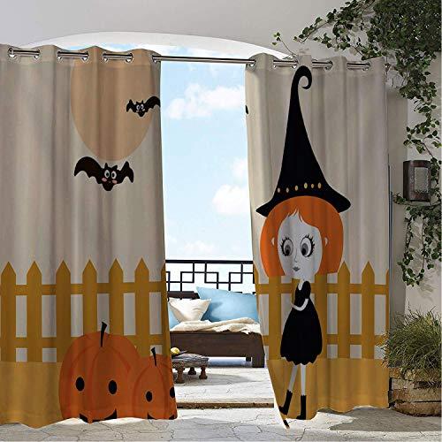 Witch Taffeta - Linhomedecor Patio Waterproof Curtain Halloween Cute Cartoon Pumpk Little Witch doorways Grommets Adjustable Curtains 84 by 84 inch