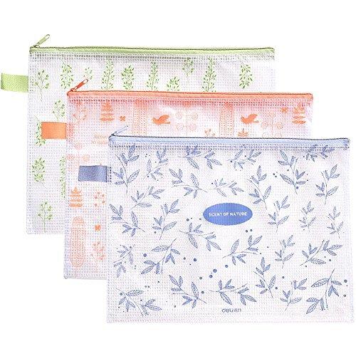Deli 5pcs A4 Plastic Envelope File Folders Storage Bags,Waterproof Files Documents Folder Bag with Zipper,Assorted Color,US Letter / A4 Size