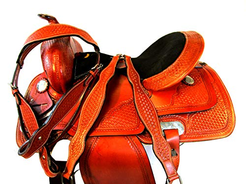 (Orlov Hill Leather Co 15 16 17 Western Barrel Racing Silla DE MONTAR Caballo Pleasure Trail Saddle (15))
