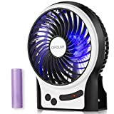 OPOLAR F201 Rechargeable Portable Mini USB Fan with Upgraded 2200mAh Battery,with Internal and Side Light, 3 Speeds, Personal Cooling for Traveling,Boating,Fishing,Camping