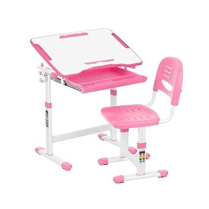Juego de escritorio para niños con inclinación y silla con sujetarrollos de papel y portavasos, de Ikayaa, rosa