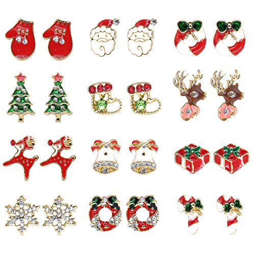 Elesa Miracle 12 Pairs Girl Kids Christmas Stud Earrings in Gift Box Xmas Earrings Jewelry Set Women Girl Christmas (Xmas Boxes For Gifts)