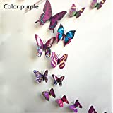 Soxee(TM) Fashion Cute 12pcs PVC 3d Butterfly wall sticker Adesivo De Parede art Decal stickers on the home wall DIY Home Decoration