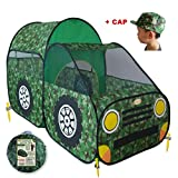 (US) Kid's Camouflage Truck Pop Up Play Tent - Army Style Children Toy for Fun & Adventure | Boys and Girls Love this Camo Indoor/Outdoor Playhouse Shelter | Portable, No Assembly - by WooHoo Toys