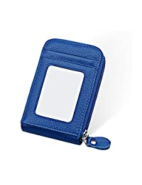 Anshili Unisex Leather Mini Credit Card Case Organizer Compact Wallet with ID Window (Type 8)