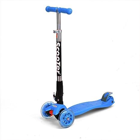 Fascol® patinetes 3 ruedas para niños scooters plegables ,Azul
