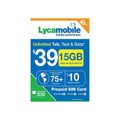 15GB (Unlimited Talk Text Data 30-Days) Lycamobile $39 15GB of 4G LTE (Then  Unlimited Normal Speed Data) Unlimited Talk Text to 75+ Countries Plus $10