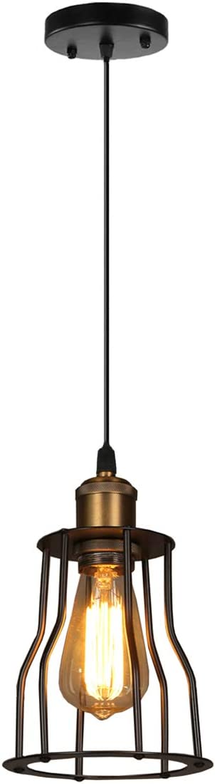 SOUTHPO Vintage Pendant Lighting Creative Metal Pendant Lamp Retro Industrial Edison Adjustable Hanging Lights Cage Shade Mini Loft Decor Chandeliers for Dining Rooms 1 E26 MAX40W 5.91 inch Black S