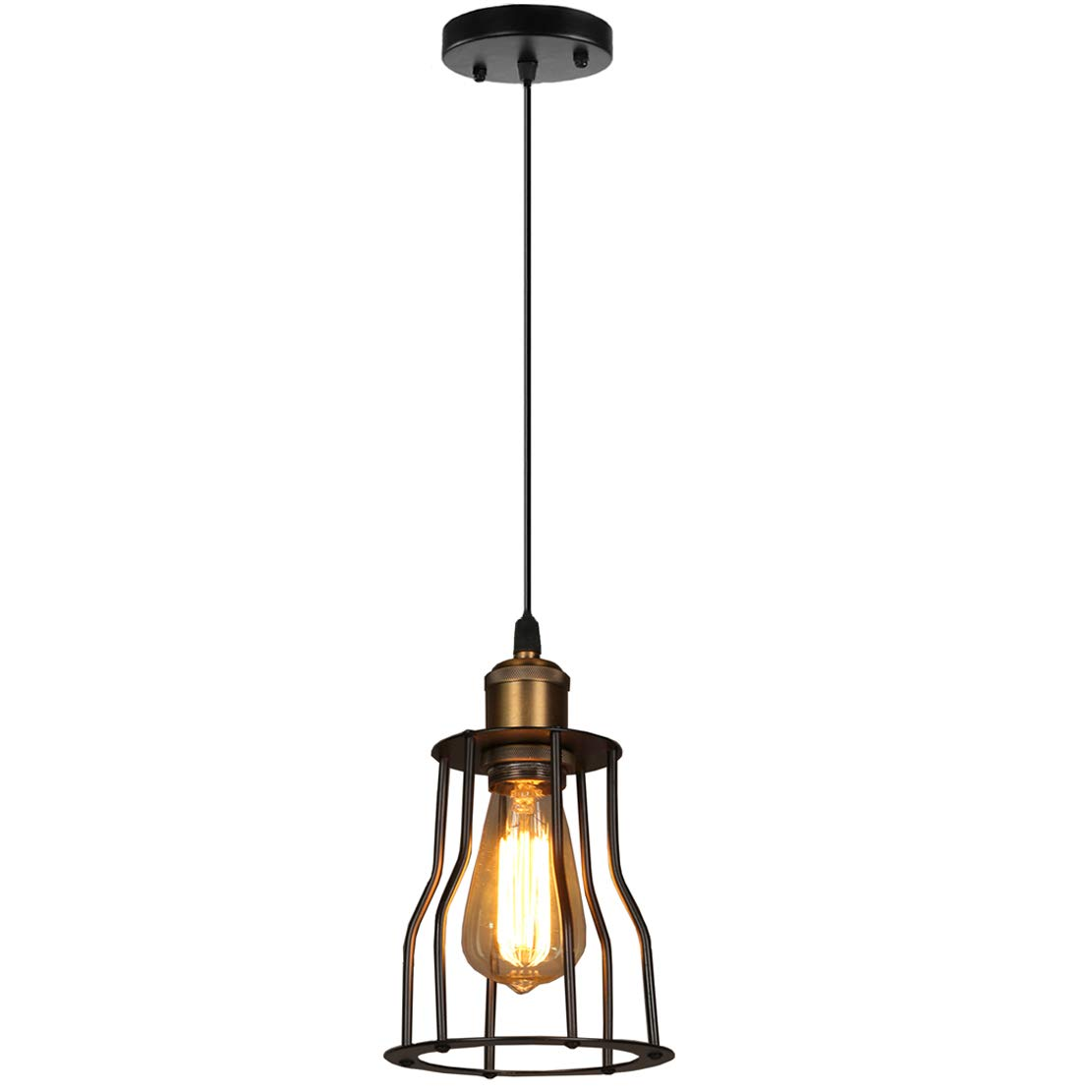 b378857e891 YOXANG Vintage Pendant Lighting Ceiling Creative Metal Light Fitting Retro  Industrial Edison Adjustable Hanging Lights for Dining Room Mini Cage Shade  Loft ...