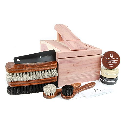 FootFitter Shoe Shine Valet Set for Men - All in One Shoe Care Kit - Brush, Polish, Cloth, etc. from FootFitter