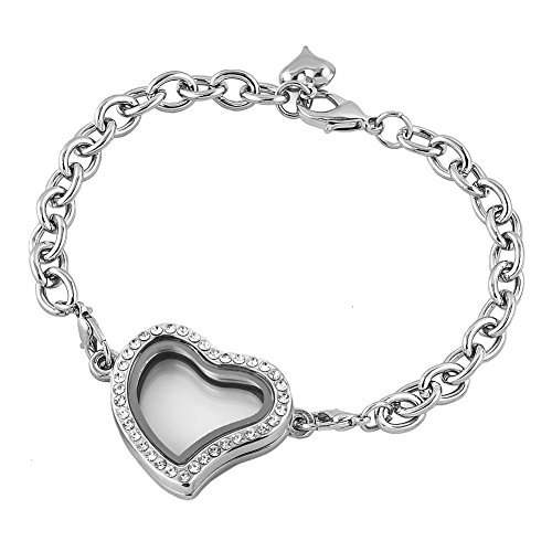 Corykeyes Glass Living Memory Link Locket Bracelet For Floating Charms (Heart Shaped With ()