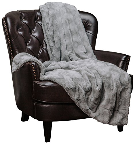 "Chanasya Fur Throw Blanket for Bed Couch Chair Daybed - Soft Wave Embossed Pattern - Warm Elegant Cozy Fuzzy Fluffy Faux Fur Plush Suitable for Fall Winter Summer Spring (50"" x 65"") - Grey Blanket"