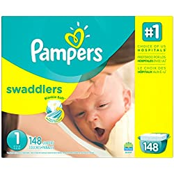 Pampers Swaddlers Disposable Diapers Newborn Size 1 (8-14 lb), 148 Count, GIANT (Packaging May Vary)