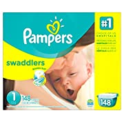 Pampers Swaddlers Disposable Diapers Newborn Size 1 (8-14 lb), 148 Count, GIANT