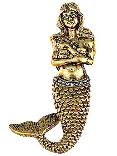 Alilang Golden Tone Vintage Fantasy Mermaid Siren Princess Fish Tail Brooch Pin