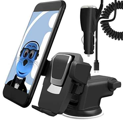 Price comparison product image Black Auto Grip Dashboard / Windscreen, Case Compatible Clip On Suction Mount In Car Holder with 2000 mAh Type C USB C In Car Charger For Asus ZenFone 4 ZE554KL 2017