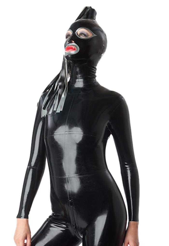 Palace Civet Latex Rubber Full Face with Single Streamers Hoods Masks 0.4MM