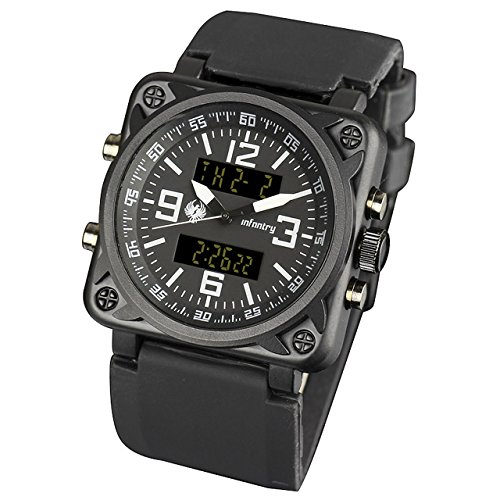 INFANTRY Men's Military Digital Watch Sports Tactical Watches LED Backlight Stopwatch Calendar Alarm Heavy Duty Big Face Black ()