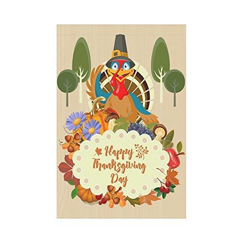 InterestPrint Happy Thanksgiving Turkey Polyester Garden Fla