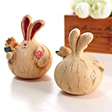PETrend Home Decorations and Desktop Ornaments Accessories Cute Rabbits - Office Desktop Decor Gift (2 Pieces/Set) (Small)