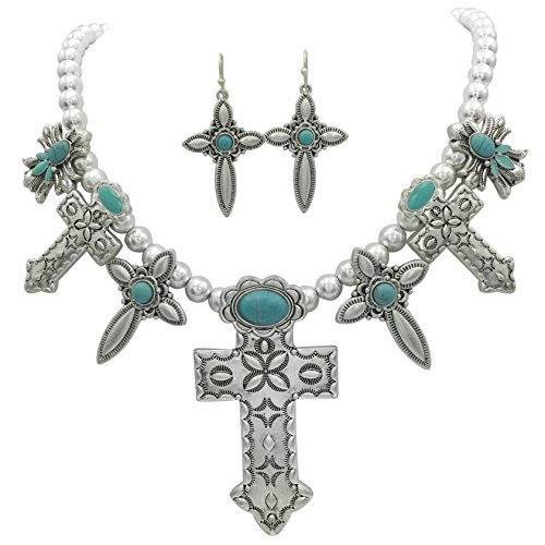 Western Cross Necklace (7 Cross Western Style Imitation Turquoise Necklace & Earrings Set (Silver Tone))