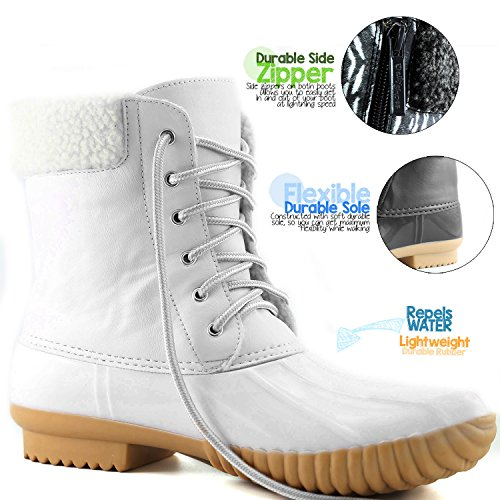 Booties White Women's Padded Ankle Rain Boots PU Collar DailyShoes Rubber Cashmere High Warm Duck Mud up Snow CFZdqtR