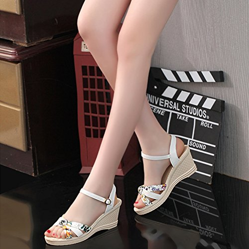 chengniu Zapatillas de Moda Sandalias Talón - 6.5 CM Blanco