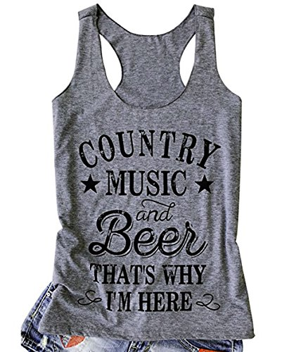 Women Tank Top Country Music and Beer That's Why I'm Here Vest Sleeveless T Shirt Summer Casual Racerback Tank Tops (L, Grey) ()