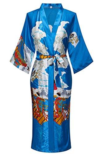 Old-to-new Women's Long Kimono Robe Silk Bathrobe with Pockets-Multi-Pattern,Pagoda Blue -