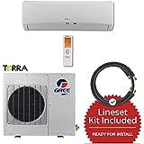 Gree TERRA 9,000 BTU Ductless Mini Split Air Conditioner w/ Inverter, Heat Pump, Remote & 15 Lineset (208/230V)