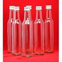 20 Glass Bottle 250 ml BOR Empty Straight-Necked for Juice Liquor Schnapps Bottles Vinegar Oil for Filling Screw Cap 250 ml, Height 24 cm, Set of 20 by slkfactory by slkfactory