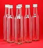 20 Glass Bottle 250 ml BOR Empty Straight-Necked for Juice Liquor Schnapps Bottles Vinegar Oil for Filling Screw Cap 250 ml, Height 24 cm, Set of 20 by slkfactory