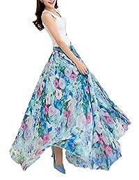 Afibi dama estampado floral clásico plisada chifón largo maxi falda