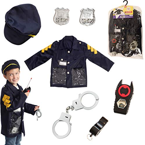 Dress to Play Police Chief Pretend Costume; 6 Pc Dress up Set with -
