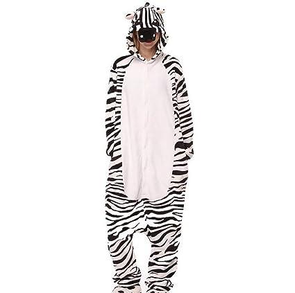 SHANGLY Animal Cosplay Disfraz Kigurumi Cebra Onesies Adulto Pijama Halloween Navidad Regalo,XL