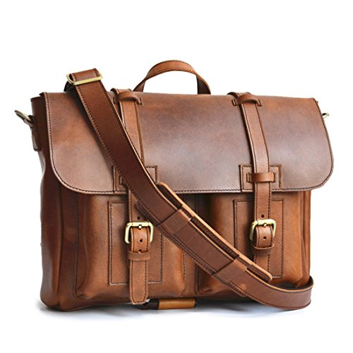 Marlondo Leather Organizer Briefcase - Full Grain Leather, Solid Brass Zipper (Tobacco) by Marlondo Leather