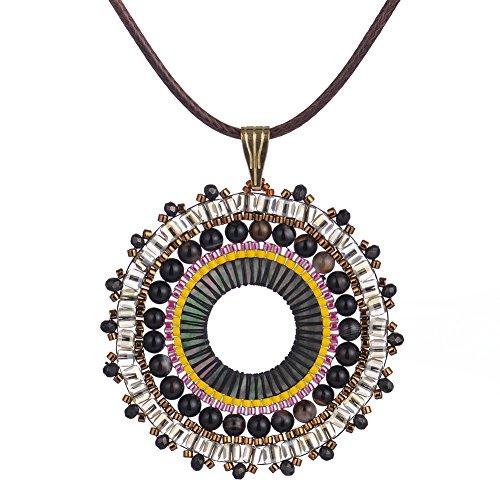 BeadChica Handmade Large Beaded Seed Bead Long Necklace Beadwork Sea Shell Jewelry (Color 2)