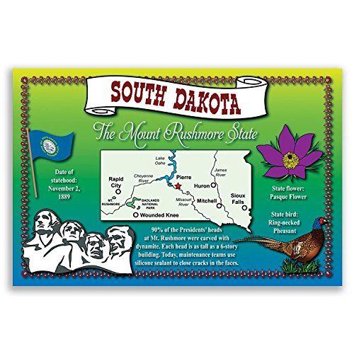 SOUTH DAKOTA STATE MAP postcard set of 20 identical postcards. Post cards with SD map and state symbols. Made in USA.