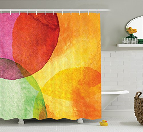 Ambesonne Abstract Shower Curtain, Abstract Watercolor Painted Paper Style in Modern Art Design Print, Fabric Bathroom Decor Set with Hooks, 70 Inches, Yellow Orange Lime Green (Orange Watercolor)