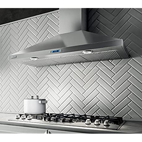 EVR636S1 36 Aspire Series Varna Wall Mount Chimney Hood With 600 CFM Internal Blower Heat Guard CFM Reduction System Stainless Steel Micro Hole Filters And 2 Halogen Lights Stainless Steel