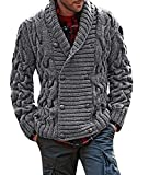 EastLife Mens Cardigan Sweaters Long Sleeve Cable Knit Chunky Button Cardigans with Pocket