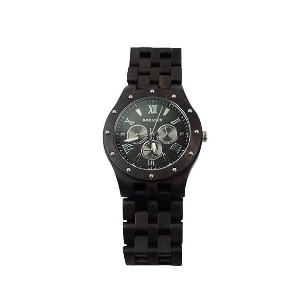 BS® Hecho a mano para hombre reloj de madera de sándalo Natural día fecha calendario función: Amazon.es: Relojes