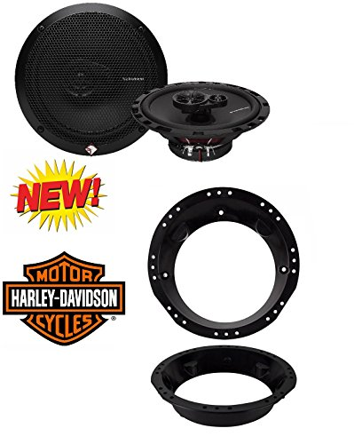 "Rockford Fosgate R165X3 Prime 6.5-Inch Full-Range 3-Way Coaxial Speaker (Pair) With 6-1/2"" to 6-3/4"" Speaker Adapter for 1998-2013 Harley Davidson Touring Models"