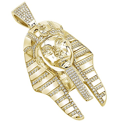 Men's 10K Rose, White or Yellow Gold Egyptian Pharaoh Head Diamond Pendant 8ctw (Yellow Gold) ()
