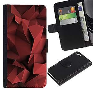 WINCASE Cuadro Funda Voltear Cuero Ranura Tarjetas TPU Carcasas Protectora Cover Case Para Apple Iphone 5 / 5S - sangre en colores pastel rojo shape