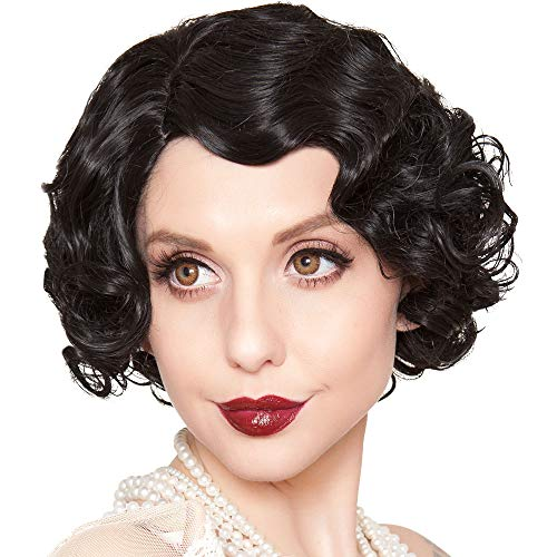 Rockstar Wigs Black Finger Wave Flapper Wig, Halloween Costumes Accessory, for Adults, One Size ()