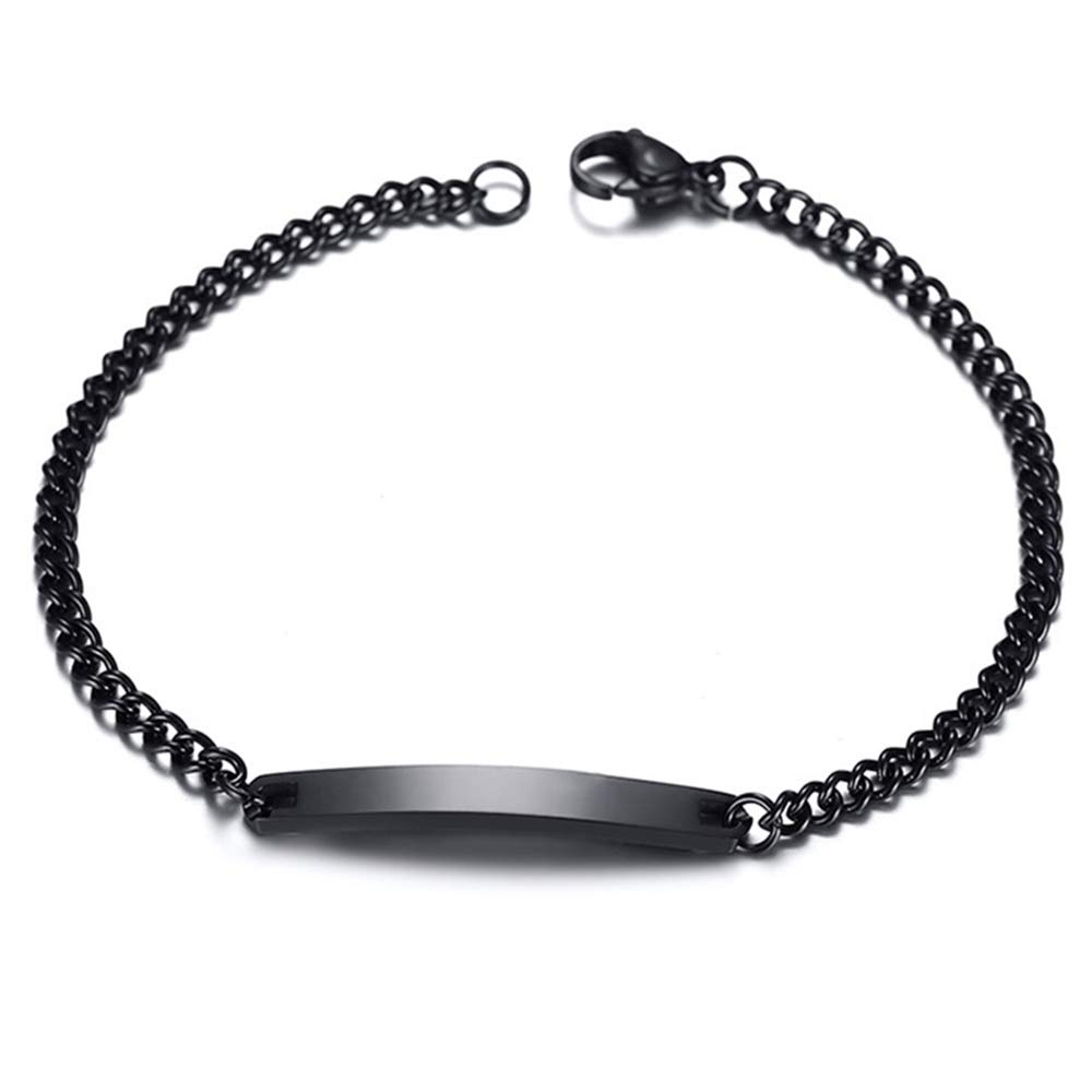 GAGAFEEL Custom Bracelet Engraved Name Date Personalized Wrist Link for Women Men Titanium Stainless Steel Cuff Couple Friends Gift (Black-Width 4mm)