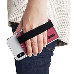 Ringke Flip Card Holder with Elastic Hand Strap Slim Soft Band Grip Fashion Multi-Card Slot 3M Stick-On Wallet Credit Card Cash Mini Pouch Attachment Compatible with Most Smartphones - Pink