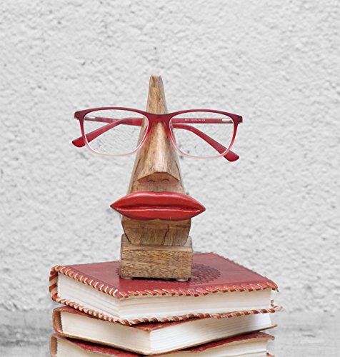 The StoreKing Wooden Handmade Red Lip Shaped Eyeglass Spectacle Holder Display Stand for Girls Women Office Desk Home Décor Gifts (Brown)