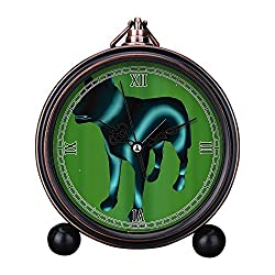 Vintage Retro Living Room Decorative Non-ticking, HD Glass Lens, Quartz, Analog Large Numerals Bedside Table Desk Alarm Clock Cute Cat Dog Series -569. Neon Wolf
